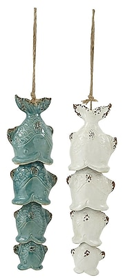 ABCHomeCollection Ceramic Fish Wind Chime (Set of