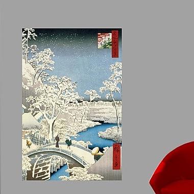 Wallhogs Hiroshige Drum Bridge and Setting Sun Hill at Meguro (19th) Wall Mural; 24'' H x 15.5'' W