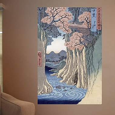 Wallhogs Hiroshige The Monkey Bridge in The Kai Province (19th) Wall Mural; 48'' H x 32'' W