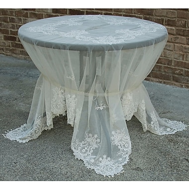 Manor Luxe Paisley Lace Embroidered Tablecloth w/ Beaded Accent