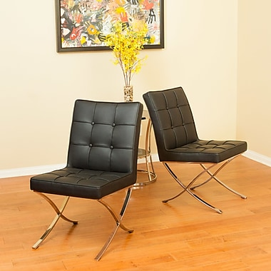 Home Loft Concepts Milania Genuine Leather Upholstered Dining Chair (Set of 2); Black