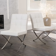 Home Loft Concepts Milania Genuine Leather Upholstered Dining Chair (Set of 2); White