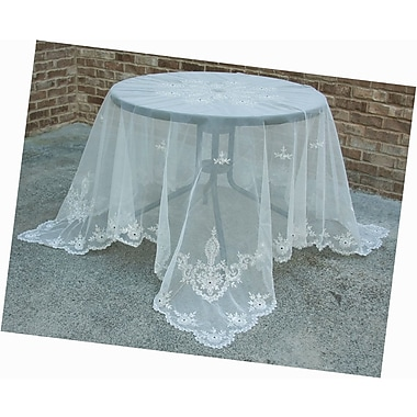 Manor Luxe Merrigold Lace Embroidered Tablecloth w/ Beaded Accent