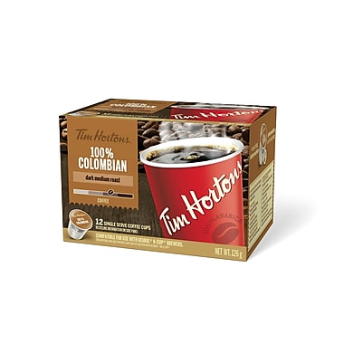 Tim Hortons – Café Colombien compatible K-Cup, portion unique, paq./12