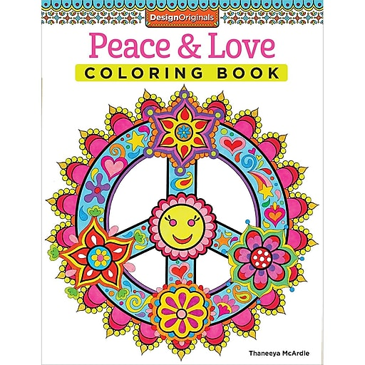 Design Originals Peace and Love Adult Coloring Book, Softcover