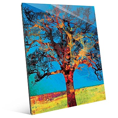 Click Wall Art 'Radiant Tree Red And Yellow' Graphic Art on Glass; 20'' H x 16'' W x 1'' D