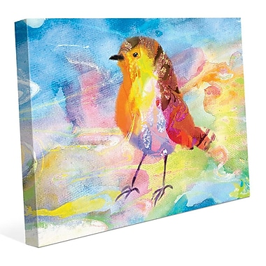 Click Wall Art 'Amber Robin' Painting Print on Wrapped Canvas; 11'' H x 14'' W x 1.5'' D