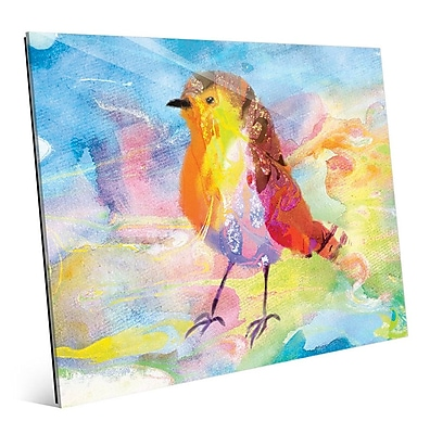 Click Wall Art 'Amber Robin' Painting Print; 16'' H x 20'' W x 1'' D