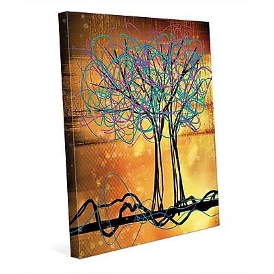 Click Wall Art 'Scribbled Trees V' Graphic Art on Wrapped Canvas; 10'' H x 8'' W x 0.75'' D