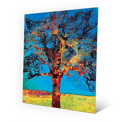 Click Wall Art 'Radiant Tree Red and Yellow' Graphic Art on Metal; 10'' H x 8'' W x 0.04'' D