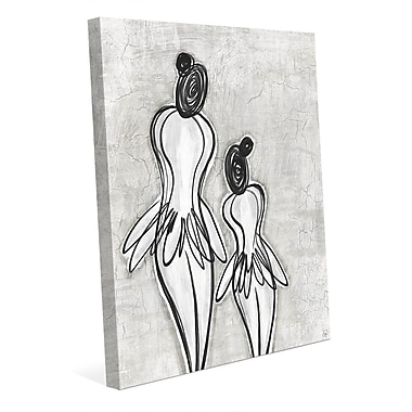 Click Wall Art 'Mother Daughter Ballerinas Gray' Painting Print on Wrapped Canvas