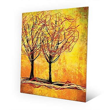 Click Wall Art 'Stringy Trees Yellow' Graphic Art on Wood; 14'' H x 11'' W x 1'' D