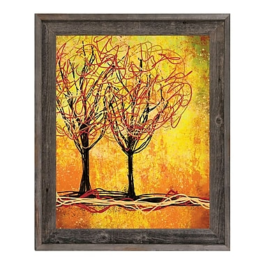 Click Wall Art 'Stringy Trees Yellow' Framed Graphic Art ; 27.5'' H x 23.5'' W x 1'' D