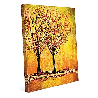 Click Wall Art 'Stringy Trees Yellow' Graphic Art on Wrapped Canvas; 30'' H x 20'' W x 1.5'' D
