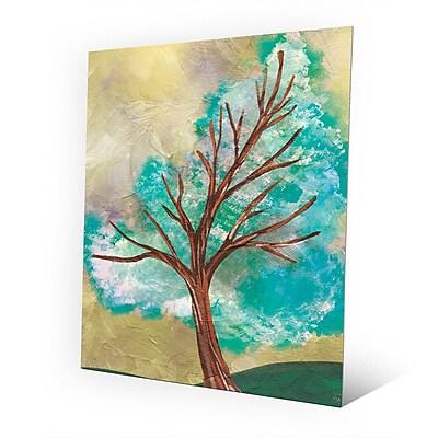Click Wall Art 'Blue Green Tree' Painting Print on Metal; 20'' H x 16'' W x 0.04'' D
