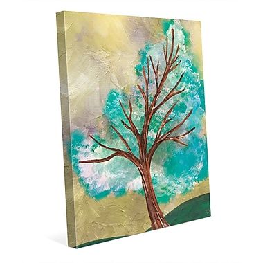 Click Wall Art 'Blue Green Tree' Painting Print on Wrapped Canvas; 36'' H x 24'' W x 1.5'' D
