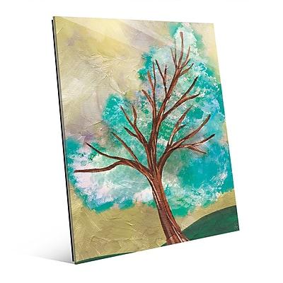 Click Wall Art 'Blue Green Tree' Painting Print on Glass; 10'' H x 8'' W x 1'' D