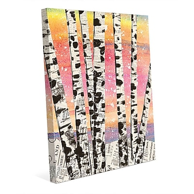 Click Wall Art 'Winter Aspens Beta' Graphic Art on Wrapped Canvas; 36'' H x 24'' W x 1.5'' D