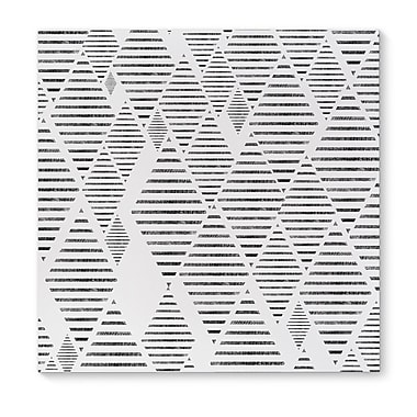 Kavka Sketched Diamonds White Graphic Art on Wrapped Canvas