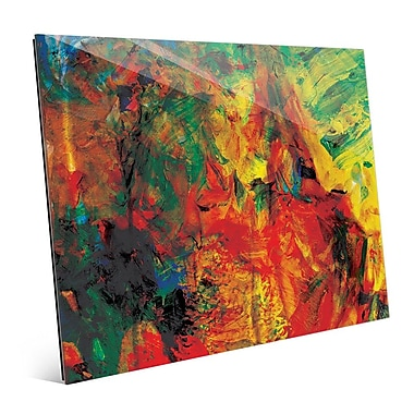 Click Wall Art 'Crimson Ink Pyre' Painting Print on Glass; 16'' H x 20'' W x 1'' D