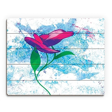 Click Wall Art 'Magenta Bloom' Painting Print on Wood; 20'' H x 30'' W x 1'' D