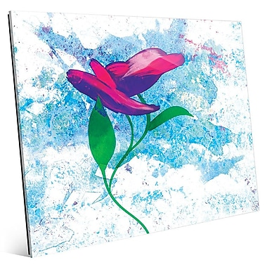 Click Wall Art 'Magenta Bloom' Painting Print on Glass; 11'' H x 14'' W x 1'' D