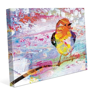 Click Wall Art 'Amber Chickadee' Painting Print on Wrapped Canvas; 20'' H x 30'' W x 1.5'' D