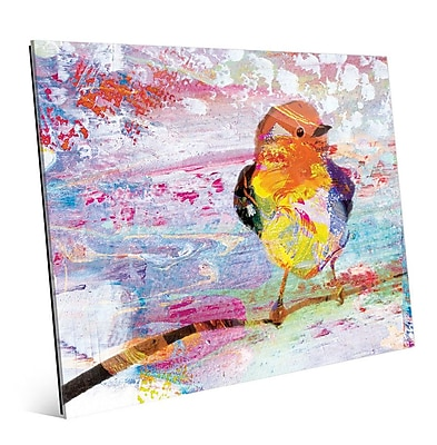 Click Wall Art 'Amber Chickadee' Painting Print on Glass; 8'' H x 10'' W x 1'' D
