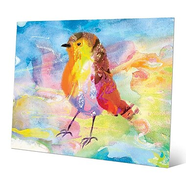 Click Wall Art 'Amber Robin' Painting Print on Metal; 8'' H x 10'' W x 0.04'' D