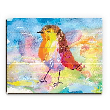 Click Wall Art 'Amber Robin' Painting Print on Wood; 16'' H x 20'' W x 1'' D