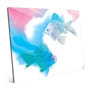 Click Wall Art 'Lava Lamp Goldfish Azure' Graphic Art; 16'' H x 20'' W x 1'' D