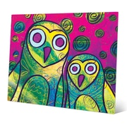 Click Wall Art 'Wild Colorful Owls Gamma' Painting Print on Metal; 11'' H x 14'' W x 0.04'' D