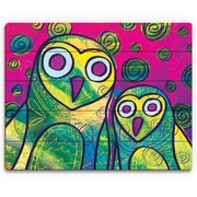 Click Wall Art 'Wild Colorful Owls Gamma' Painting Print on Wood; 16'' H x 20'' W x 1'' D