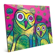 Click Wall Art 'Wild Colorful Owls Gamma' Painting Print on Glass; 11'' H x 14'' W x 1'' D