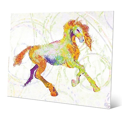 Click Wall Art 'Equine Impression Chartreuse' Graphic Art on Metal; 20'' H x 30'' W x 1'' D
