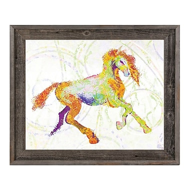 Click Wall Art 'Equine Impression Chartreuse' Framed Graphic Art ; 23.5'' H x 27.5'' W x 1'' D