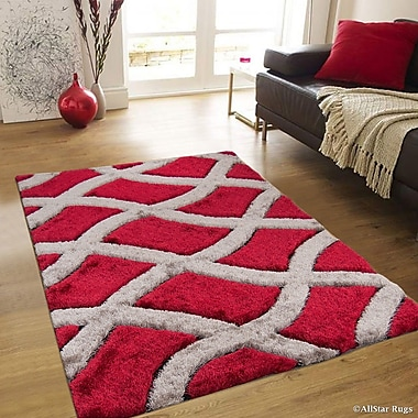 AllStar Rugs Hand-Tufted Red/Brown Area Rug; 4'11'' x 6'11''