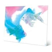 Click Wall Art 'Lava Lamp Goldfish Azure' Graphic Art on Metal; 20'' H x 24'' W x 0.04'' D