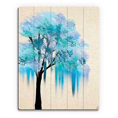 Click Wall Art 'Melting Blue Tree' Painting Print on Wood; 24'' H x 20'' W x 1'' D