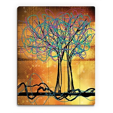 Click Wall Art 'Scribbled Trees V' Graphic Art on Wood; 24'' H x 20'' W x 1'' D