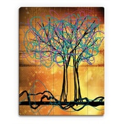 Click Wall Art 'Scribbled Trees V' Graphic Art on Wood; 20'' H x 16'' W x 1'' D