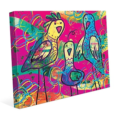 Click Wall Art 'Wild Birds Kappa' Painting Print on Wrapped Canvas; 11'' H x 14'' W x 1.5'' D