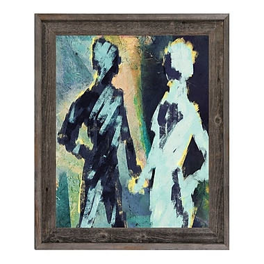 Click Wall Art 'Couple Figures Negative' Framed Painting Print; 17.5'' H x 14.5'' W x 1'' D