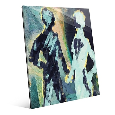 Click Wall Art 'Couple Figures Negative' Painting Print on Glass; 20'' H x 16'' W x 1'' D