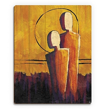 Click Wall Art 'Away From the Orange Sun' Painting Print on Wood; 14'' H x 11'' W x 1'' D