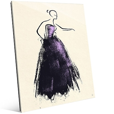 Click Wall Art 'Formal Dress Violet' Painting Print on Glass; 10'' H x 8'' W x 1'' D