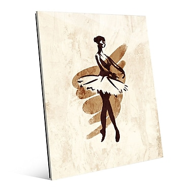 Click Wall Art 'Gestural Ballerina En Pointe' Painting Print on Glass; 14'' H x 11'' W x 1'' D