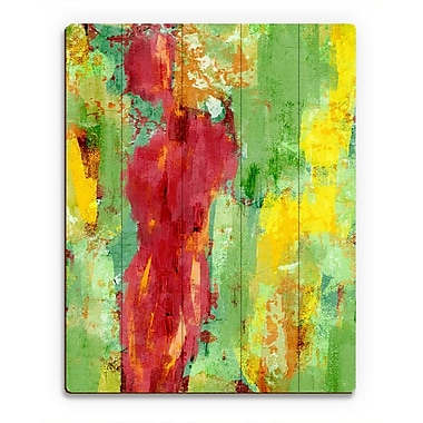 Click Wall Art 'Abstract Figure Spring' Painting Print on Wood; 14'' H x 11'' W x 1'' D