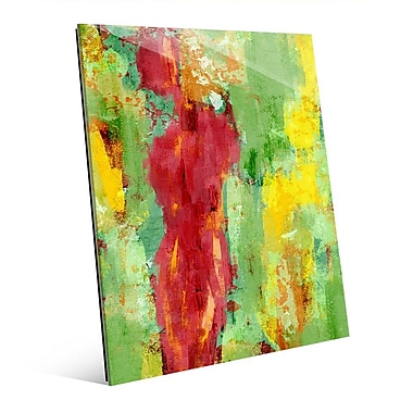 Click Wall Art 'Abstract Figure Spring' Painting Print on Glass; 14'' H x 11'' W x 1'' D