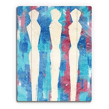 Click Wall Art 'Pin Figures Blue' Painting Print on Wood; 24'' H x 20'' W x 1'' D